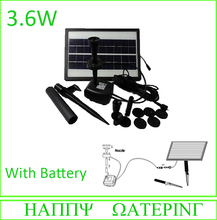 3.6W 250L/H Pond Fountain Solar Fountain Solar Water Pump+ Battery + LED Light for Garden