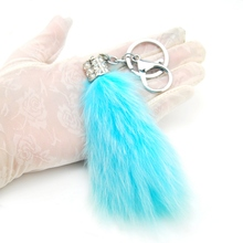 Fashion Lovely Fluffy Rabbit Fur Keychain Women Trinket Pompom Tail Crystal Keyring Toy Doll Girls Key Chain Bag Charms Key Ring(China)