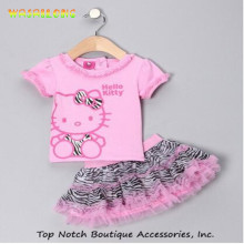 2016 Summer New Children Girl's 2 pic Hello Kitty cute girl Set baby Clothing sets dots skirt pants girls clothes