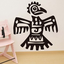 Cartoon Aztec Parrot Wall Sticker For Kids Rooms Vinyl Removable Hollow Out Wall Art Decals Bedroom Home Decoration Accessories(China)