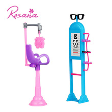 Rosana 1 Set Cute Exquisite Vision Table With Glasses Equipment for Barbie Doll Pretend Play House Dolls Furniture Accessories