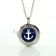 Classic nautical accessories jewelry charm navy blue Boat Anchor pattern locket pendant necklace trendy silver plated gift HH284
