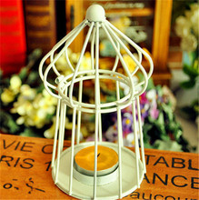 Fashion Creative White Birdcage Iron Candlestick Candle Holder Hang On the Tree or Wall Home Decoration Gifts Crafts