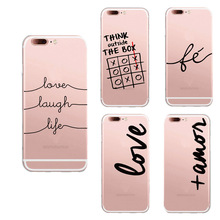 Fashion Phone Case For iphone 7 Soft TPU Coque Unique Portuguese Words Love laugh life Amor Design Para Silicon Back Cover
