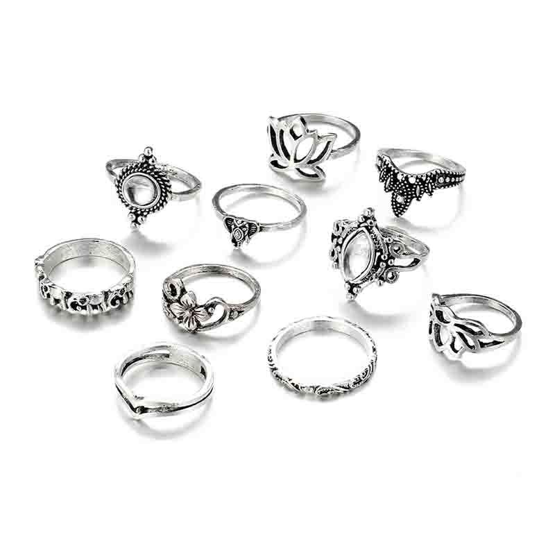 10PCS/Set Tibetan Fashion Carved Punk Flower Rings
