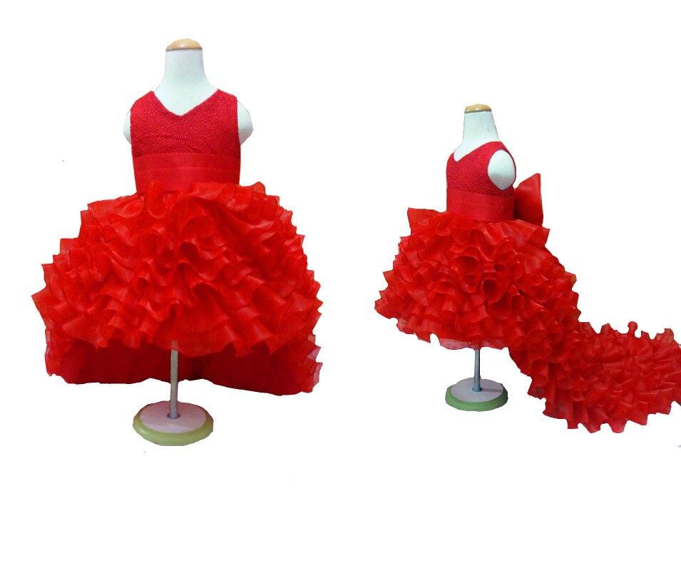 Платья в цветочек для девочек пышные красные платья с хвостом из шифона для девочек летнее платье с большим бантом для девочек на свадьбу пр...(China)