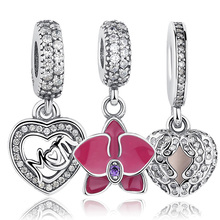 Original 925 Sterling Silver Radiant Orchid Snowflake MOM Daisy Pendant Beads Fit Charm Bracelet Jewelry Accessories(China)