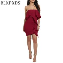 2017 New Red Black White Cascading Ruffle Strapless Tube Sexy Women Mini Dress Vestidos Clothing Clubwear Dresses Plus size