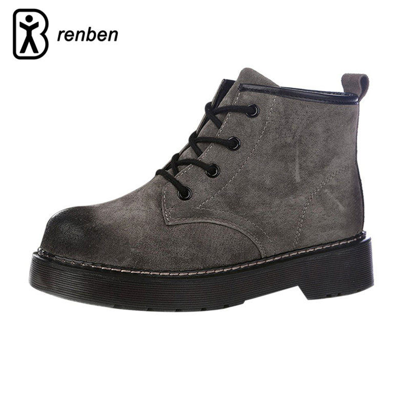 RenBen Plush Warming Women Winter Boots Vintage Genuine Leather Ladies Shoes Durable Oxford Martin Boots Footwear zapotos mujer<br>