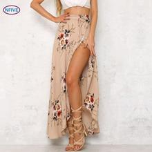 NFIVE Brand 2017 New Summer Women Explosion Irregular Lace Big Pendulum Print Bust Skirt Fashsion Holiday Sexy Novelty Skirt(China)