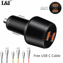 L&I Quick Charge 3.0 36W Dual USB Car Charger +Free USB C Data Cable Fast Power Delivery Charger for Samsung Xiaomi iPad Tablets(China)