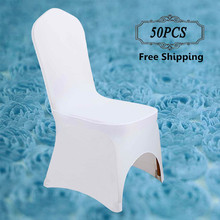 50 PCS Stretch Lycra Universal Polyester Spandex Wedding Chair Covers for Weddings Party Banquet Hotel Dining Office Decorative(China (Mainland))