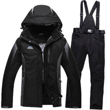 Black Green Blue Cheap Men Woman Unsex Ski snowboard Pure color Clothing skiing suit set outdoor Costume Winter snow jacket+pant