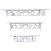 White Wall Hanging Shelf Goods Convenient Rack Storage Holder Home Bedroom Decoration Ledge Creative Home Bathroom ShelvesDecor
