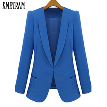 2017 Fashion Women Blazer And Jackets Covered Button Plus Size 4XL White Blazer Coat Lady Suit Outwear Spring Autumn Coat GQ1460