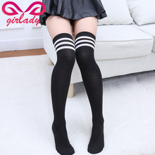 GIRLADY Thigh High Striped Women's Stockings Girls Comfortable Sexy Long Over Knee Stockings Cotton Compression  Medias Female