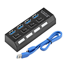 4 Ports Super Speed USB HUB 3.0 5Gbps Micro USB 3.0 HUB High Quality Usbhub With On/Off Switch USB Splitter Adapter Blue Cable