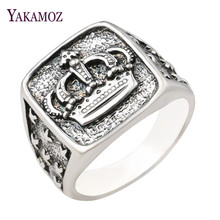 YAKAMOZ New Arrival King Queen Crown Signet Ring for Men Women Vintage Silver Color Carving Stars Punk Party Jewelry Gifts(China)