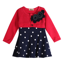 2017 All SeasonsToddler Baby Kids GirlsLong Sleeve Dress Princess Party Tulle Polka Dot Fancy Tutu Dress(China)