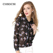 CHSDCSI Women Blouses Ladies Floral Chiffon Blouse Slim Club Shirt Casual Top Woman Shirts Womens Clothing Long Sleeve Camisas
