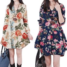 Cosy Fashion Women Floral Pattern Pregnant Dress Cotton Linen Casual Long Sleeve Loose Dresses