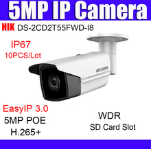 10pcs HIK DS-2CD2T55FWD-I8 5 MP Network Bullet Camera wdr security Camera H.265+ poe 80m IR range 5mp ip camera EZVIZ h265