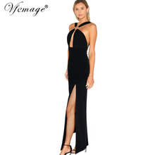 Vfemage Womens Girls Sexy Cut Out Backless Clubwear Cross Strap Chic Party Evening Prom High Slit Maxi Long Sheath Dress 6079(China)