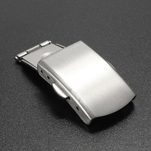 14mm 16mm 18mm 22mm Stainless Steel Metal Silver Color WatchBand Strap Push Button Fold Over Buckle Clasp