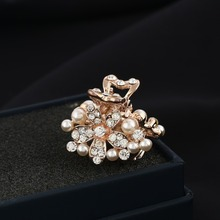 ( 2 pcs/lots) Fashion Flower Imitation Pearls Small Hair Claw Costume Gold Plating Hair Clip Jewelry For Women