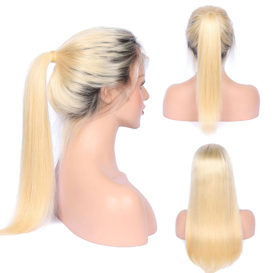 BEEOS #1bT#613 Glue Full Lace Wig With Baby Hair Pre Plucked Remy Ombre Blonde Human Hair Wigs Bleached Knots Average Cap (3)