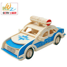 Free delivery factory price traffic tools 3D Wooden Police cars and jeep puzzles, toys for children, logico teaching AIDS(China)