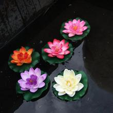 Floating Artificial Lotus Ornament for Aquarium Fish Tank Pond Water lily Lotus Artificial Flowers Home Decoration 10cm(China)