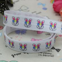 5/8 inch Free shipping Fold Over Elastic FOE Easter Bunny printed ribbon headband  hair band  diy decoration wholesale OEM B135