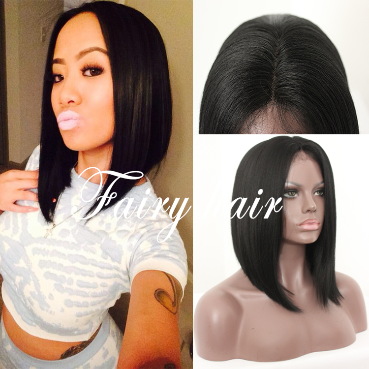 New Short Bob Wigs Synthetic No Lace Wig Short Straight Hair For Black Women Cheap Black Color No Lace Synthetic Wig<br><br>Aliexpress