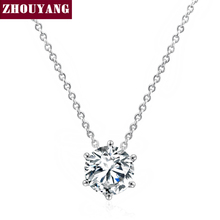 Top Quality ZYN432 Simple Six Claw Mosaic Crystal Necklace Silver Color Fashion Jewellery Nickel Free Pendant Crystal(China)