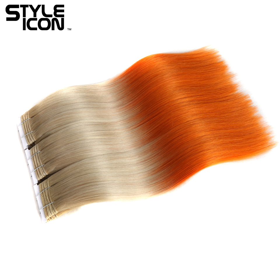 Styleicon Pre-colored Brazilian Straight Hair Bundles 18 Inch 1 Piece Deal T20/ORANGE Color 100%  Remy Human Hair Weave Bundles