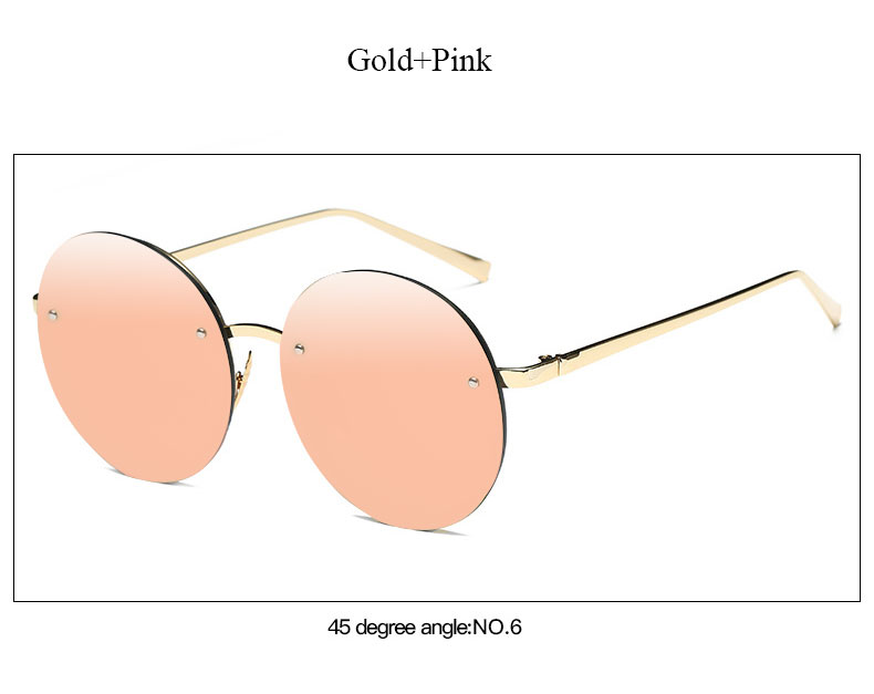 2017 New Arrival Big Round Women Brand Designer Vintage Sunglasses Lady Fashion Oversize Clear Pink Sun Glasses Summer