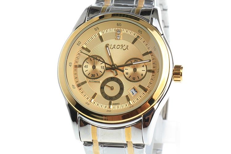 Fashion Men Brand Dress Watches 100% Full Steel Mechanical Self Wind Wristwatch 6 Hands Analog Clock Calendar Relojes NW3151<br>