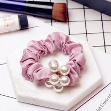 New Fashion Women Satin Silk Feel Fabric Simulated-pearl Hair Rubber Band Scrunchies Headband Handmade Hair Tie 5 Colors