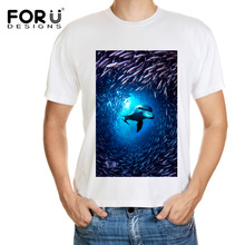 FORUDESIGNS White T-Shirt Men 3D Funny Blue Ocean Animals Print Shark/Dolphin T Shirts Summer O Neck Short Sleeves Hip Hop Tops
