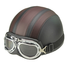 Synthetic Leather vintage Motorcycle Motorbike Vespa Open Face Half Motor scooter Helmets Visor Goggles Free Shipping(China)
