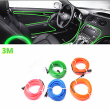 Car Styling 3 Meter Atmosphere Lamps Car Interior Light Car Ambient Light Cold Light Line DIY Decorative Dashboard Console Door