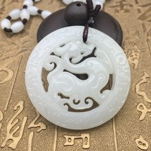 Beautiful Genuine Handmade White Carved Dragon Phoenix Pendant + Necklace Fashion Carving Pendants Jewelry