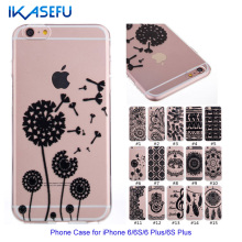 IKASEFU New Cheap Black Floral Printed Phone Case for iPhone 6 6S 6 S6 Plus Transparent Ultra-thin TPU Phone Back Cover(China)