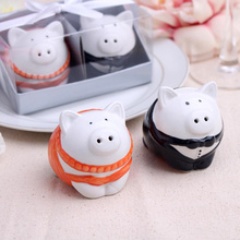 2016 new wedding favor ceramic pig Salt and Pepper Shakers bridal shower favor gifts best wedding guest souvenirs 120set /lot