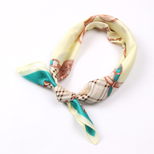 Luna&Dolphin Women Square Scarf 50*50cm Real Silk Scarves Mulberry Silk Vintage Plaid Chain Belt Neckchief Soft Handbag Scarf(China)