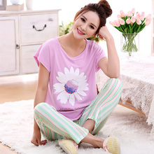 Free Shipping summer women pajama sets modal short sleeve sleepwear big size M-2XL home clothing