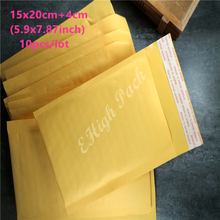 15*20cm(5.9*7.87inch) 10Pcs Yellow Kraft Bubble Envelope Poly Mailer Padded Envelopes Mailing Bags Bulle Gift Bag(China)