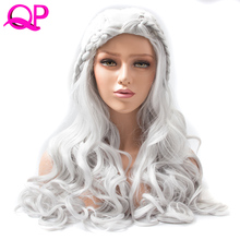 QP hair medium long Braid Synthetic Wigs  for  Women Sliver color 20 inch body wave Cosplay wig