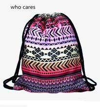 Who Cares New Drawstring Bag 3D Printing Backpack Women Aztec Purple Fashion Mochila Feminina daily Casual Bags
